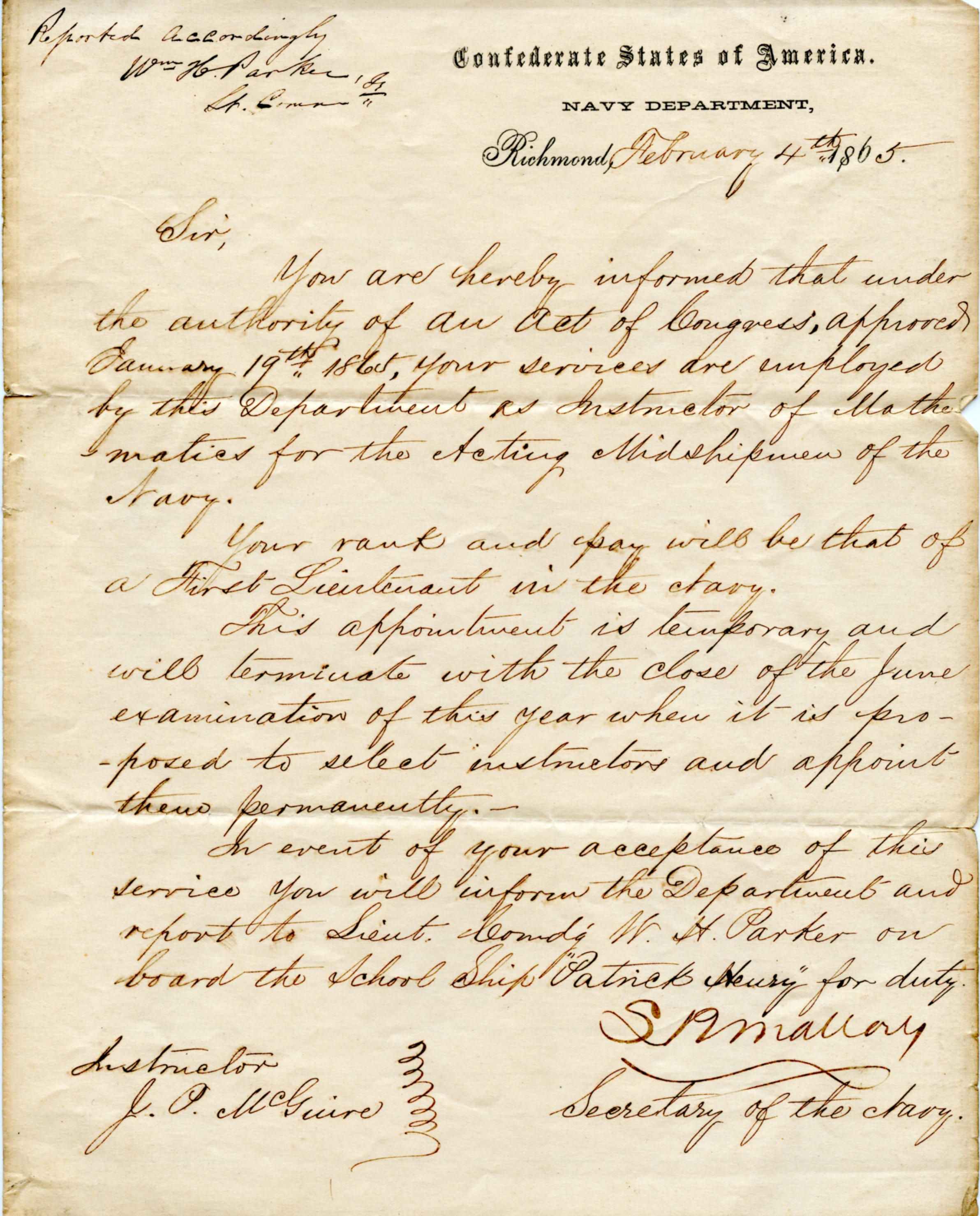 February 4, 1868<br>Letter from the Naval Department from the then Confederate States of America